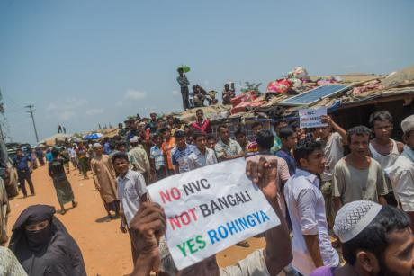 A demonstration over identity cards at a Rohingya refugee camp in Bangladesh in April, 2018. Image: NurPhoto/SIPA USA/PA Images.