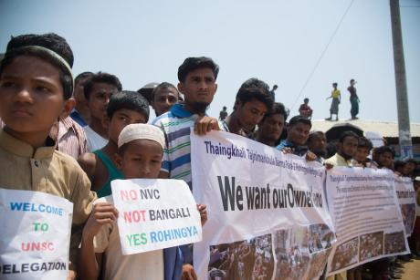 A demonstration during a UN Security visit at a Rohingya camp on 29 April, 2018. Image: NurPhoto/SIPA USA/PA Images