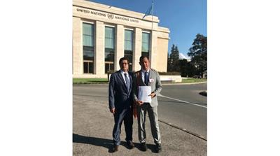 Lwin, left, and Zarni at the UN in Geneva at the launch of the International Independent Fact-Finding Mission for Myanmar in September 2018 [Ro Nay San Lwin/Al Jazeera]