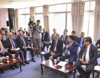 Foreign Minister AK Abdul Momen briefing Dhaka-based diplomats on the latest situation of the Rohingya refugee crisis at the state guesthouse Padma on Wednesday. (Photo: bdnews24.com)