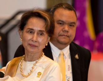 Myanmar leader, Aung San Suu Kyi has been named in a case filed in Argentina for crimes against the country's Rohingya Muslims. (AP: Gemunu Amarasinghe)